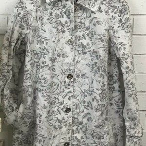 Isaac Mizrahi Womens Small Floral Gray & White S